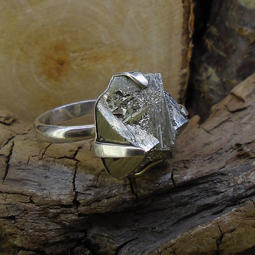 Chunky Cubic Iron Pyrite 'Fool's Gold' Sterling Silver Ring