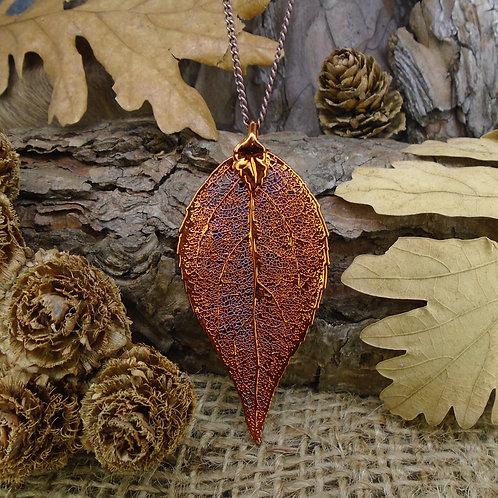 Laurel Leaf Pendant - Red Copper (Large)