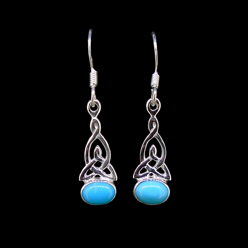 Turquoise Sterling Silver Celtic Earrings