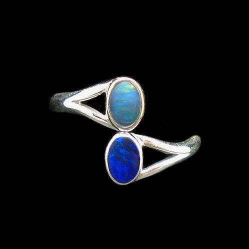 Australian Opal Doublet Two Stone Sterling Silver Ring