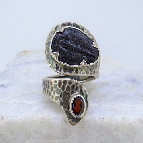 Trilobite & Garnet Sterling Silver Adjustable Ring