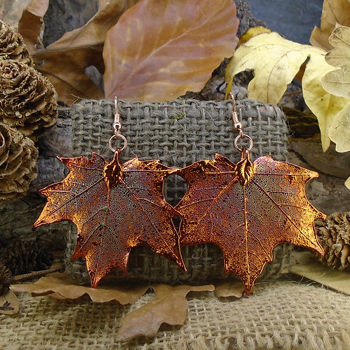 Canadian Maple Earrings - Red Copper