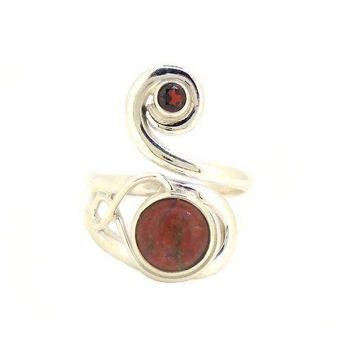Lewisian Celtic Twist with Garnet Ring
