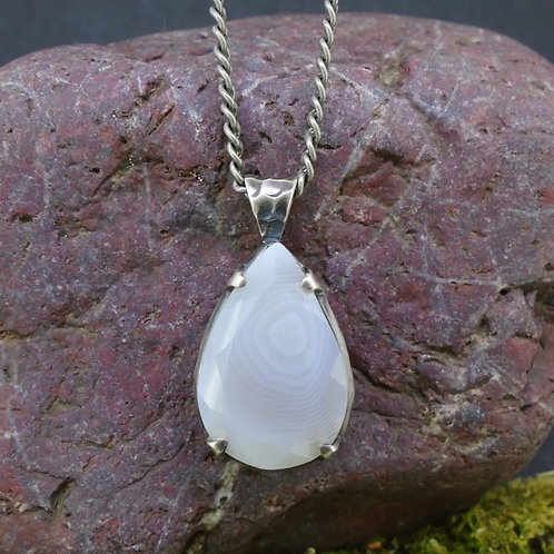 Faceted Scottish Agate Sterling Silver Pendant