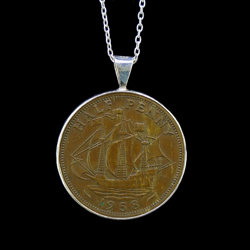 Half Penny Sterling Silver Pendant