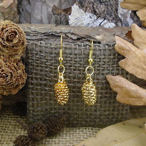 Pine Cone Earrings - Gold