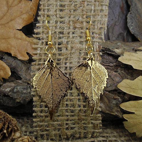 Birch Leaf Earrings - Gold
