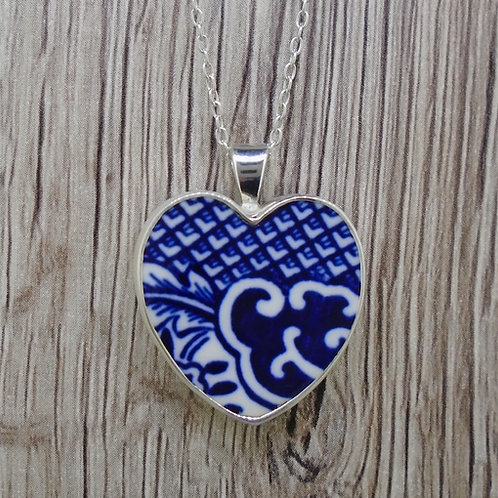 Old Willow 'Wave' Sterling Silver Heart Pendant
