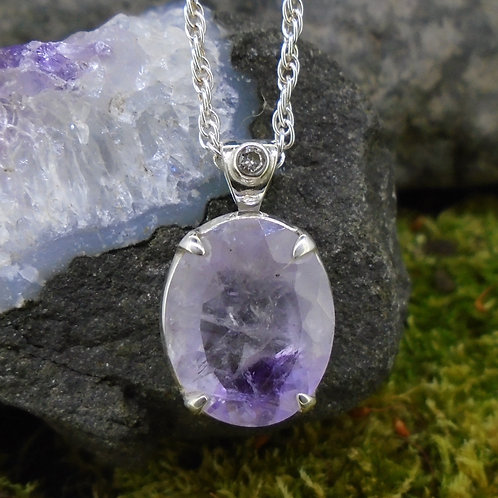 Scottish Amethyst & Diamond Sterling Silver Pendant