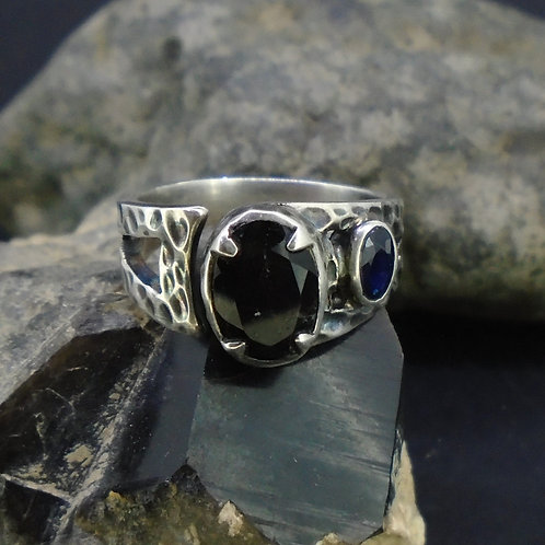 Cairngorm Morion Quartz & Sapphire Sterling Silver Ring