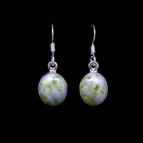 Iona Marble Oval Sterling Silver Drop Earrings