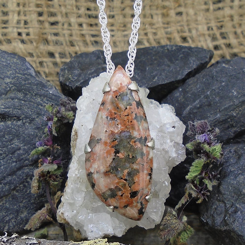 Isle of Mull Pink Granite Sterling Silver Pendant