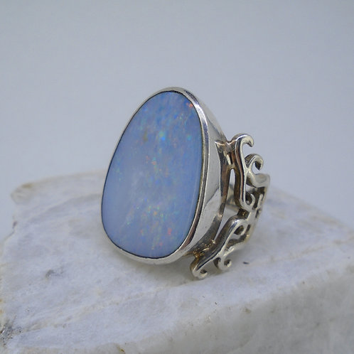 Australian Opal Doublet Sterling Silver Filigree Ring