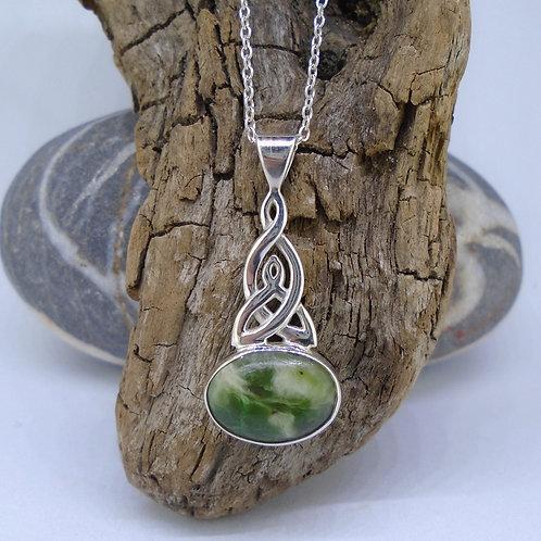 Indonesian Jade Sterling Silver Celtic Pendant