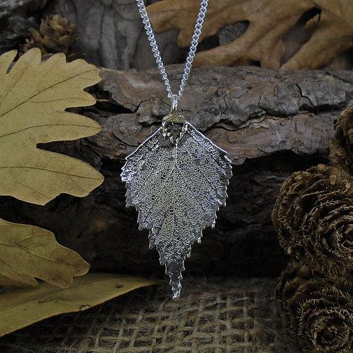 Birch Leaf Pendant - Silver (Medium)