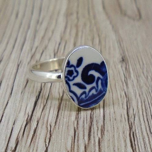 Old Willow Pattern Sterling Silver Adjustable Ring