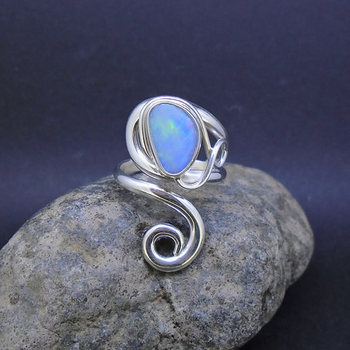 Australian Opal Doublet Sterling Silver Twist Ring