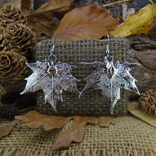 Canadian Maple Earrings - Silver