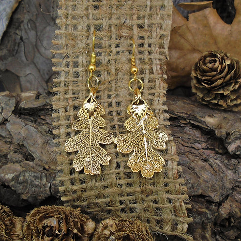 Oak Leaf Earrings - Gold