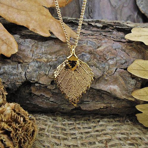 Birch Leaf Pendant - Gold (Small)