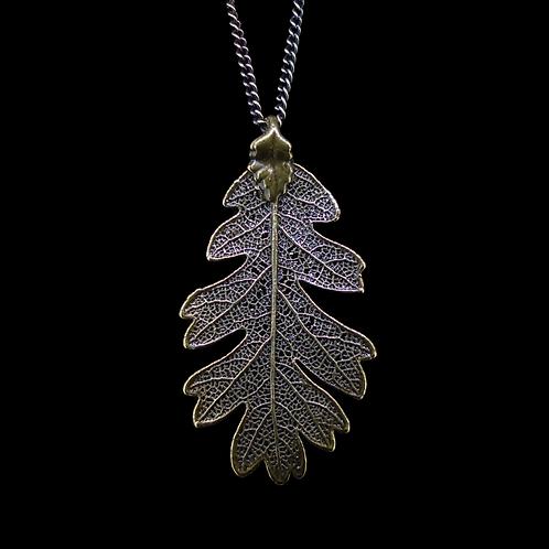 Oak Leaf Pendant - Antique Brass