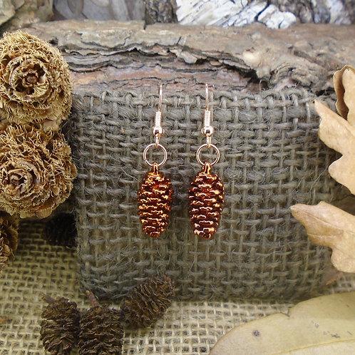 Pine Cone Earrings - Copper