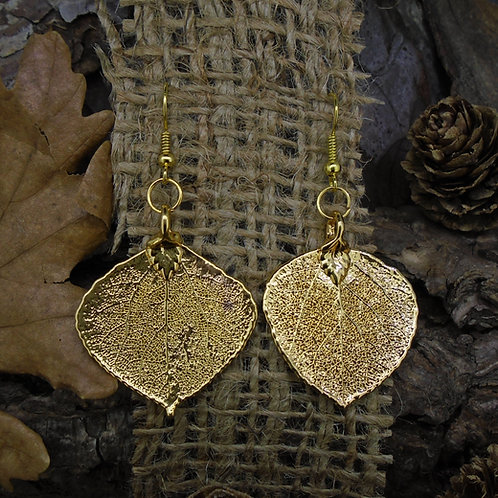 Aspen Leaf Earrings - Gold