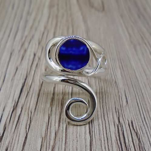 Old Willow Flow Blue Style Sterling Silver Adjustable Twist Ring