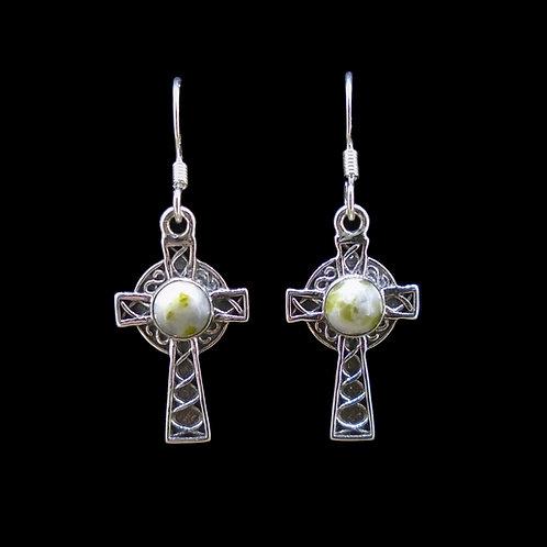 Iona Marble Celtic Cross Sterling Silver Earrings