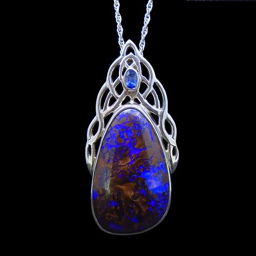 Koroit Opal & Sapphire Sterling Silver Celtic Pendant