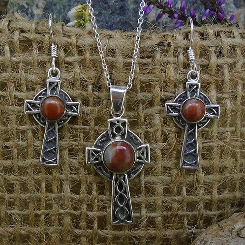 Lewisian Celtic Cross Sterling Silver Earrings & Pendant Set