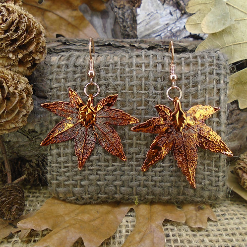 Japanese Maple Leaf Earrings - Red Copper