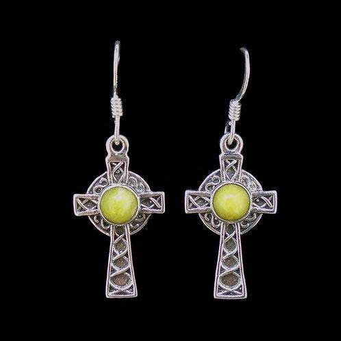 Highland Marble  Sterling Silver Celtic Cross Earrings