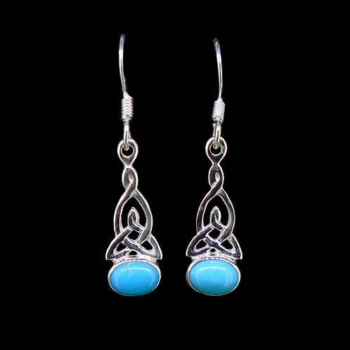 Turquoise Sterling Silver Celtic Earrings