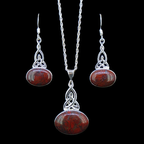 Scottish Red Jasper Sterling Silver Pendant & Earring Set