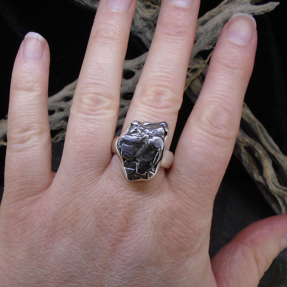 Chunky Meteorite Sterling Silver Ring