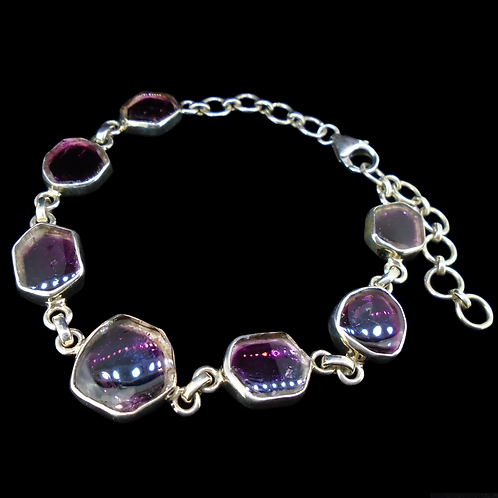 Pink Tourmaline Sterling Silver Bracelet