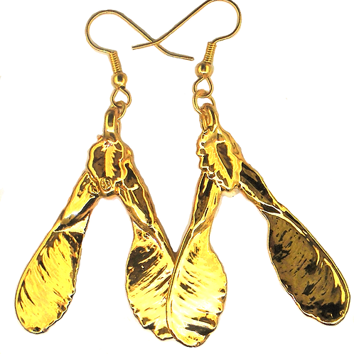 Sycamore Seed Gold Earrings