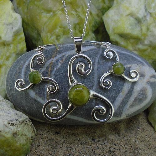 Celtic Triskele Sterling Silver Jewellery Set