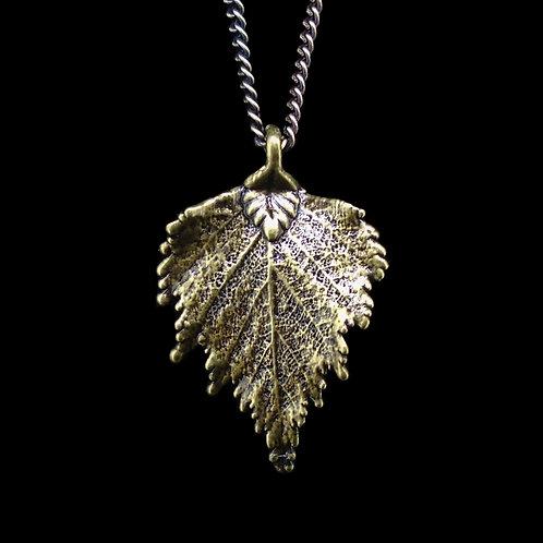 Birch Leaf Pendant - Antique Brass