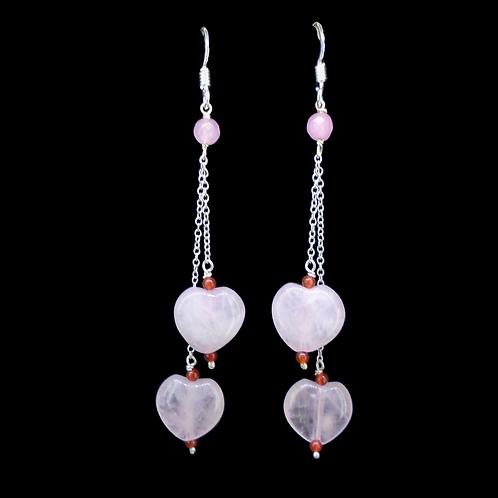 Rose Quartz & Carnelian Sterling Silver Earrings