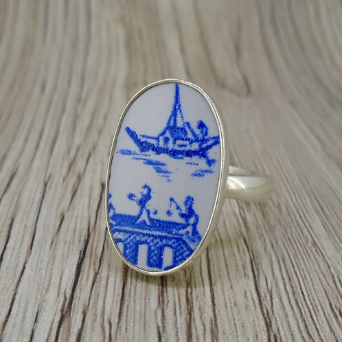 Old Willow Boat & Bridge Sterling Silver Adjustable Ring