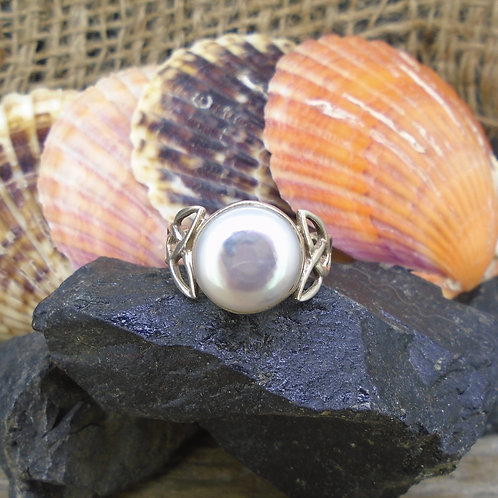 Natural Pearl Sterling Silver Celtic Ring