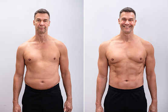 Portrait Of A Mature Man Before And After Weight Loss On White Background. Body shape was