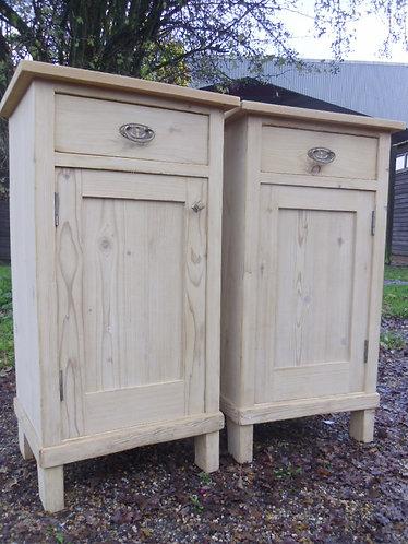 Old pine bedside cupboards