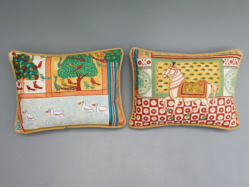 Vintage pair Nina Campbell Indian Summer fabric cushion cover