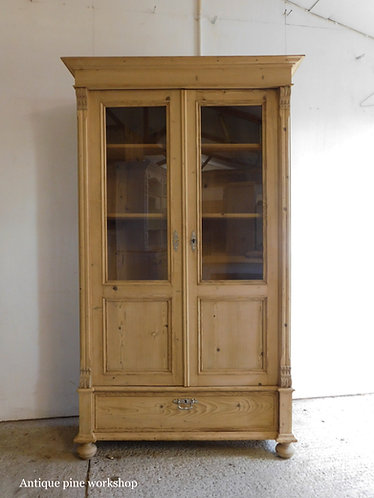 Antique pine glazed cabinet