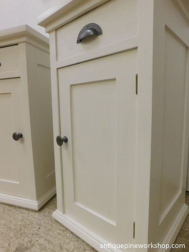 Hand painted old pine bedside cupboards