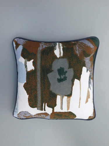 Vintage Heals 60's Howard Carter Pansies brown fabric cushion cover