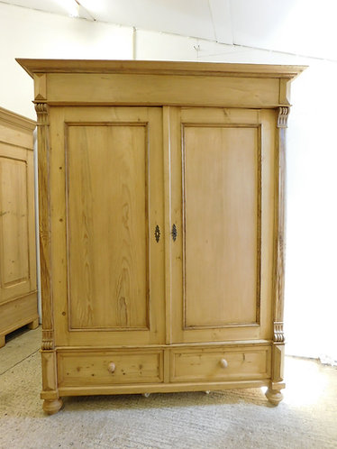 Old pine wardrobe light brown wax